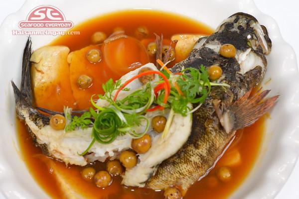 Cá mú trân châu hấp