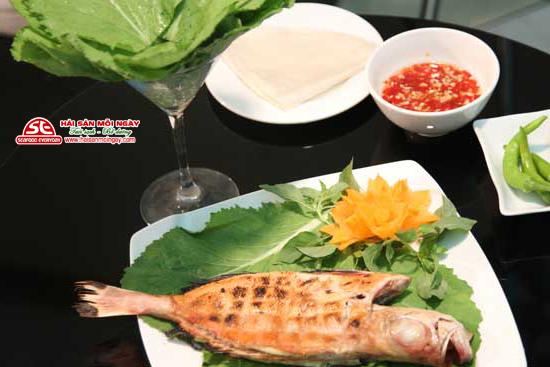 cá bã trầu nướng cải xanh